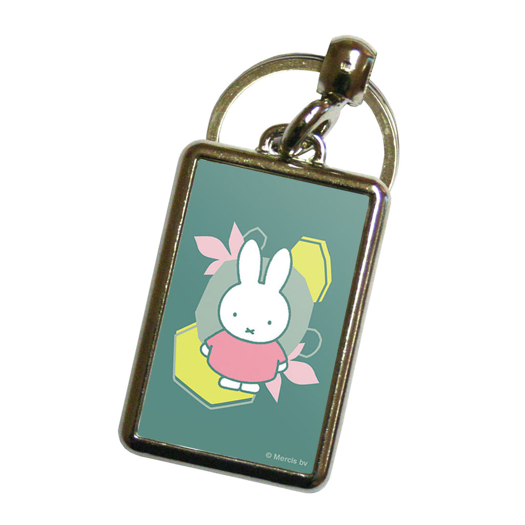 miffy floral expression pink dress metal keyring