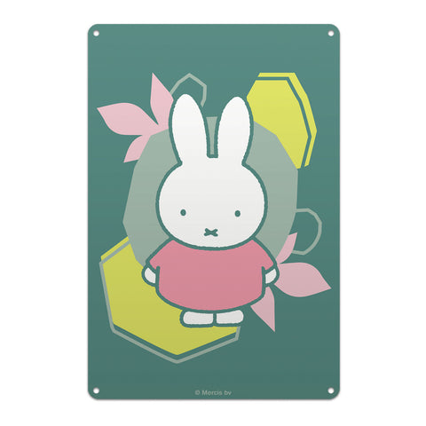 miffy floral expression pink dress metal sign