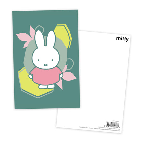 miffy floral expression pink dress postcard
