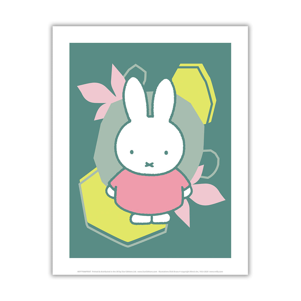 miffy floral expression pink dress mini poster
