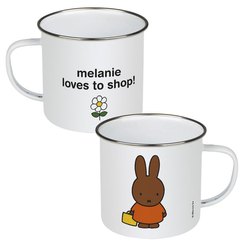 melanie loves to shop! Personalised Enamel Mug