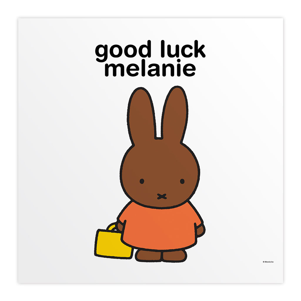 good luck melanie Personalised Square Print