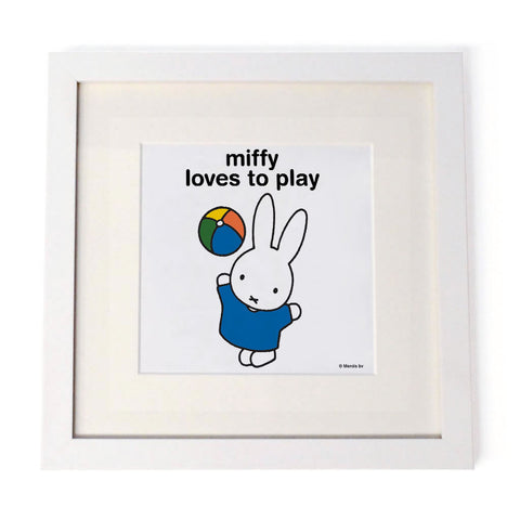 miffy loves to play Personalised White Framed Square Print