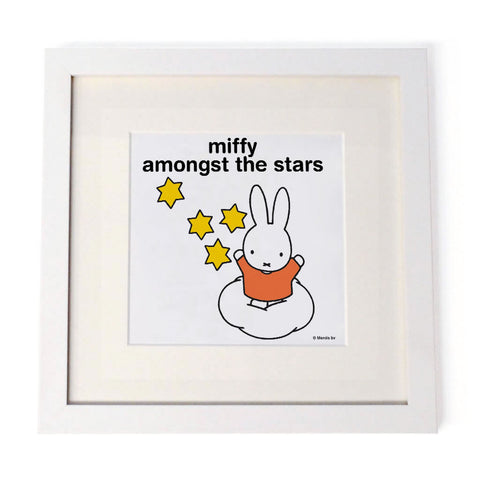 miffy amongst the stars Personalised White Framed Square Print
