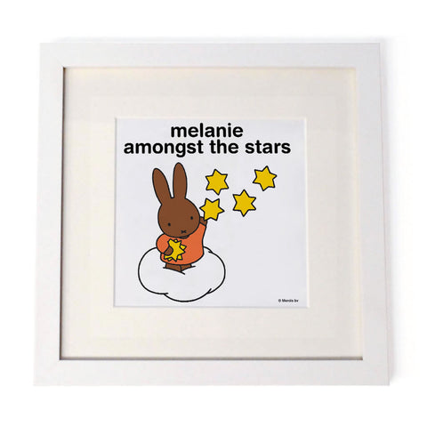 melanie amongst the stars Personalised White Framed Square Print