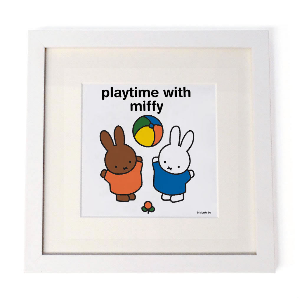 playtime with miffy Personalised White Framed Square Print