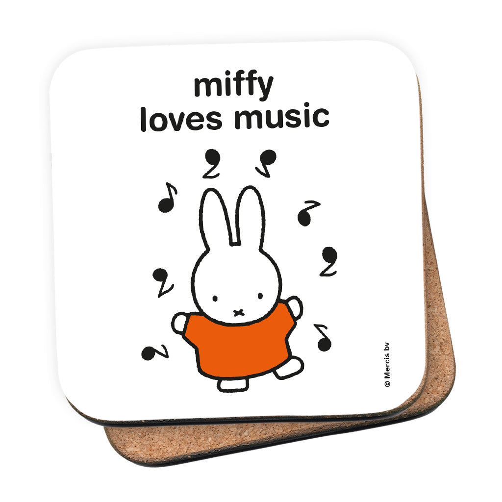 miffy loves music Personalised Coaster