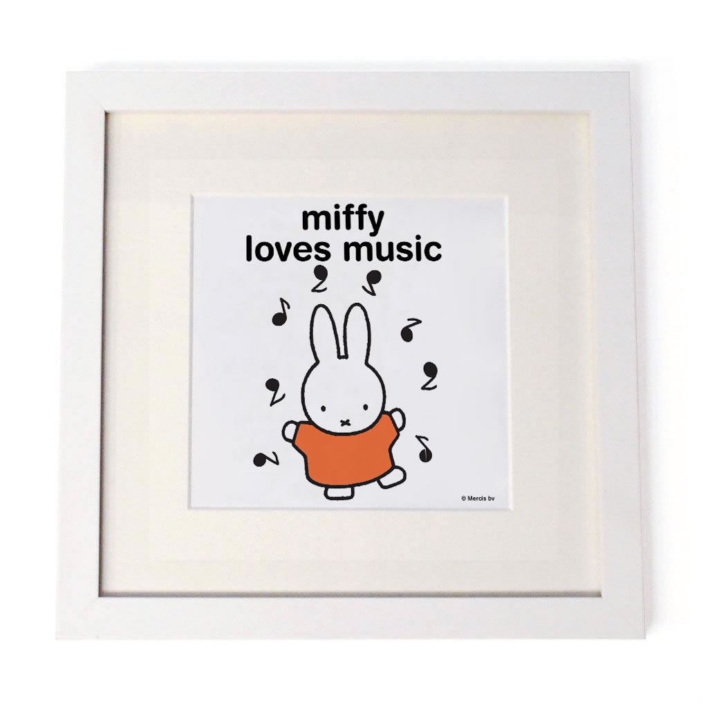 miffy loves music Personalised White Framed Square Print