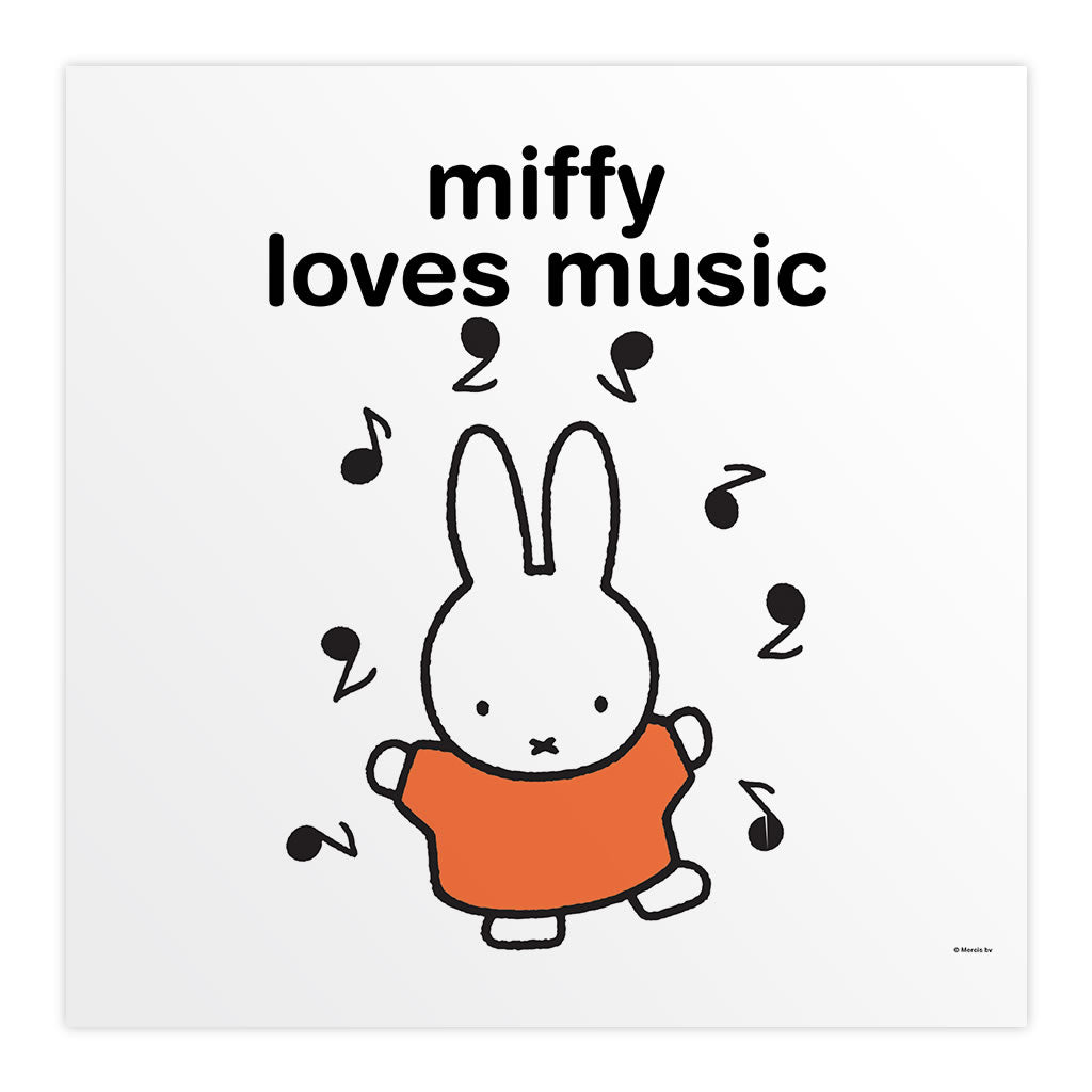 miffy loves music Personalised Square Print
