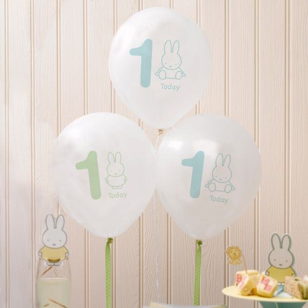 Miffy 1st birthday balloons - pack of 8