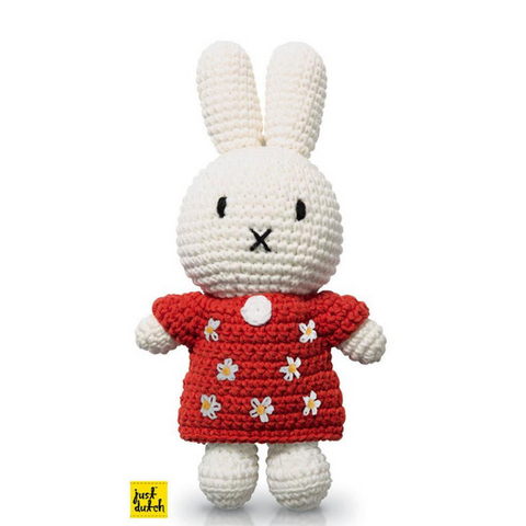 Miffy Handmade Crochet and her handmade red floral dress
