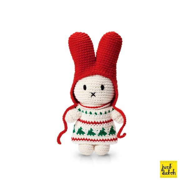 Miffy handmade crochet and her Christmas dress
