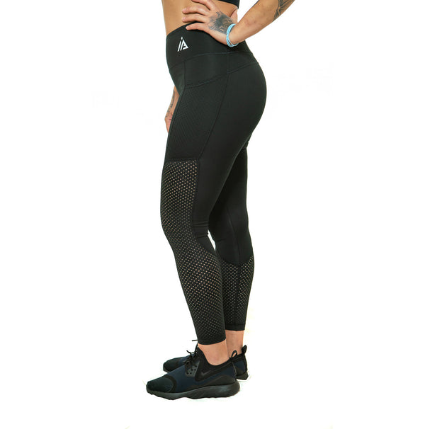 THE STUNNER - MESH DETAIL LEGGING (BLACK)