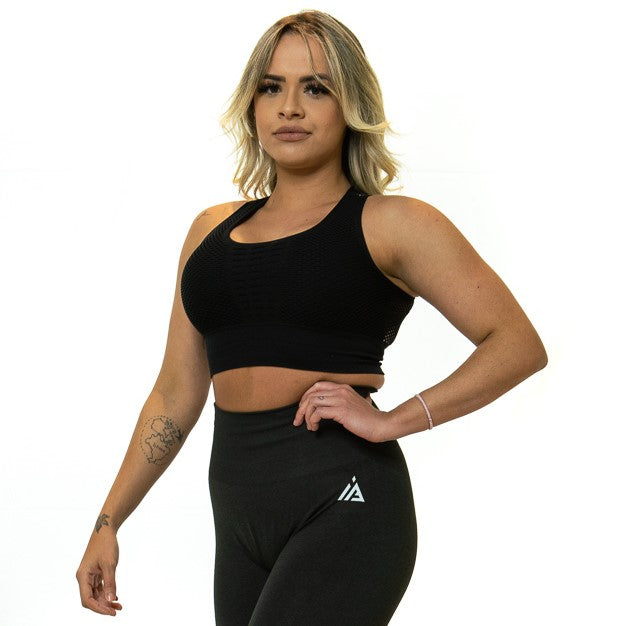 CONFIDENT SEAMLESS SPORTS BRA (BLACK)