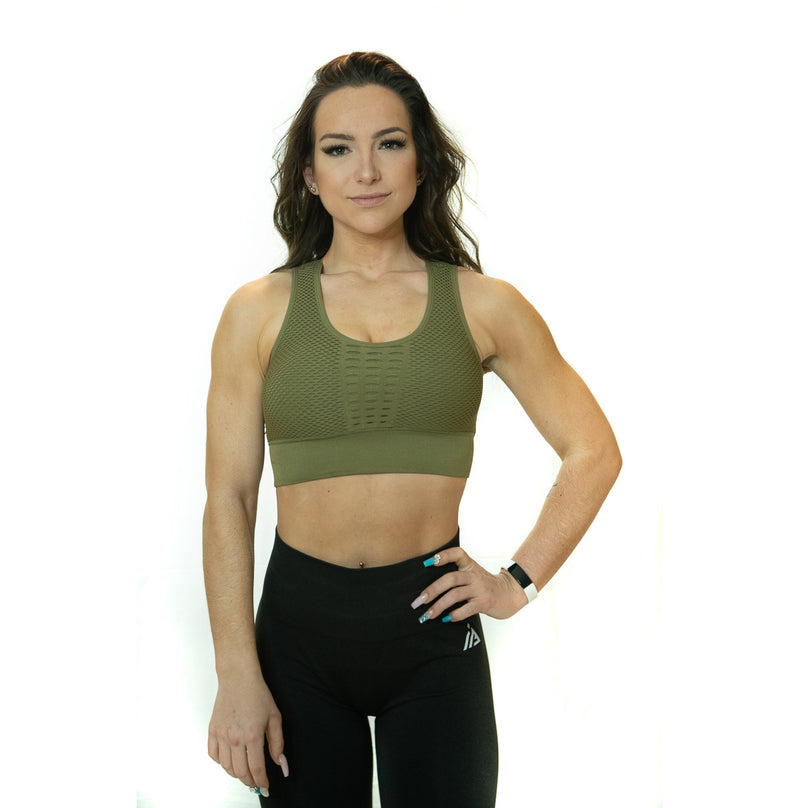 CONFIDENT SEAMLESS SPORTS BRA (ARMY GREEN)
