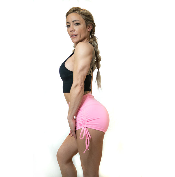 SCRUNCH SIDE TIE SHORTS (PINK)