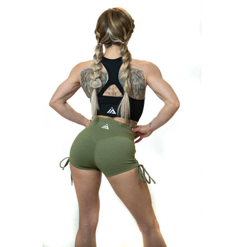 SCRUNCH SIDE TIE SHORTS (ARMY)
