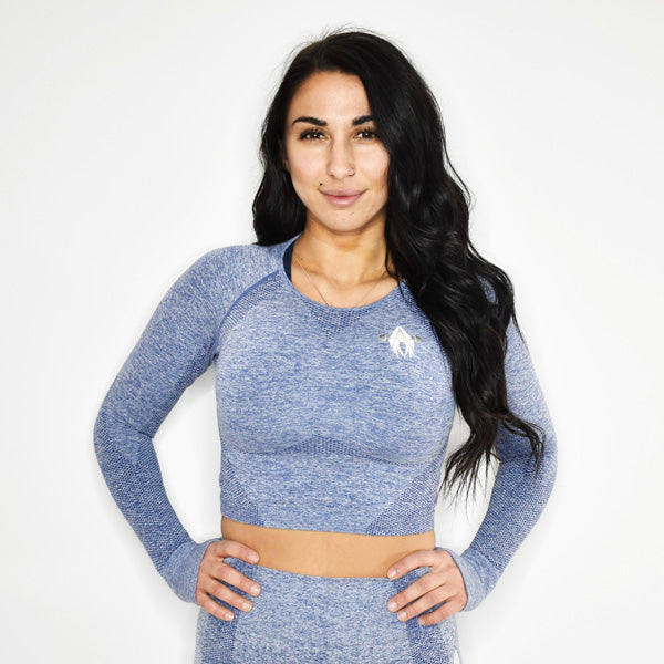 MOTIVATE SEAMLESS LONG SLEEVE CROP TOP (BLUE)