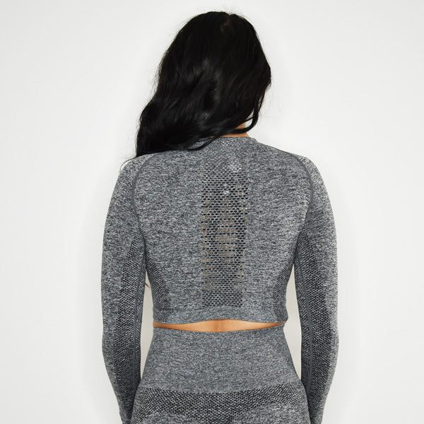 INSPIRE SEAMLESS LONG SLEEVE CROP TOP (Grey)