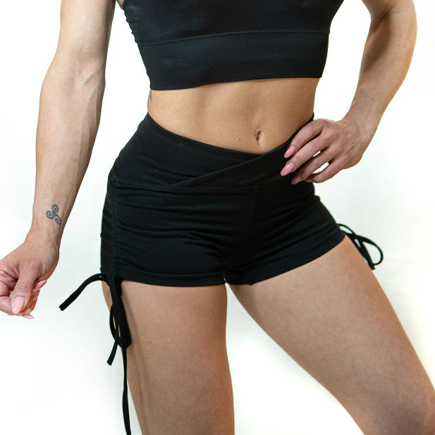 SCRUNCH SIDE TIE SHORTS (BLACK)
