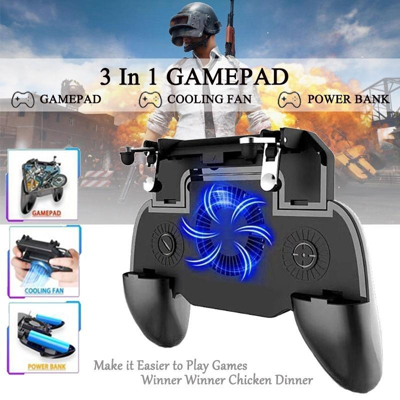 Mobile Gaming Controller--Trigger L1R1 &  2000 mAh Power Bank & Cooler Fan 3 in 1 For PUBG/Fortnite