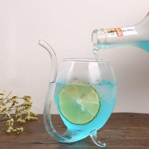 Straw Spout Drinking Glass