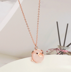 Rose Gold Lucky Pig Necklace