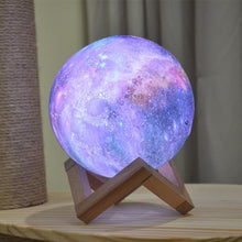 Load image into Gallery viewer, Galaxy Print Moon Lamp
