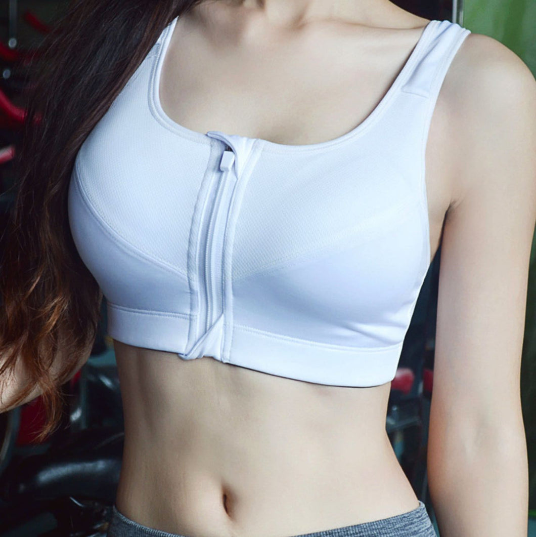 Front Zipper Sleeping Sports Bra