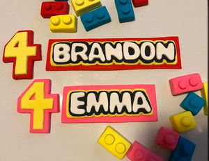 Fondant Cake Topper Set Includes: Personalized name plate, legos, and age