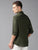 MEN'S OLIVE LINEN SOLID SLIM FIT SHIRT