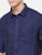 MEN NAVY BLUE SOLID SLIM FIT LINEN SHIRT