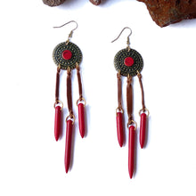 Load image into Gallery viewer, NEW Sierra Leather Tassel Drop Earrings