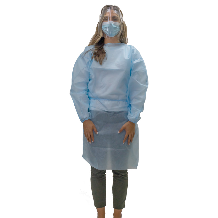 Image of woman wearing a disposable isolation gown AAMI level 3