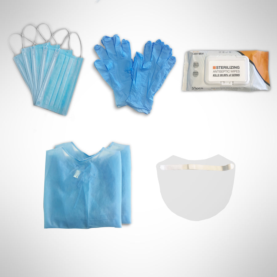 Image of PPE travel kit with face shield, face mask, disposable gown, sterilizing wipes and nitrile gloves