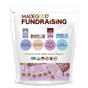 madegood fundraiser bag full of individual packages of double chocolate mini cookies