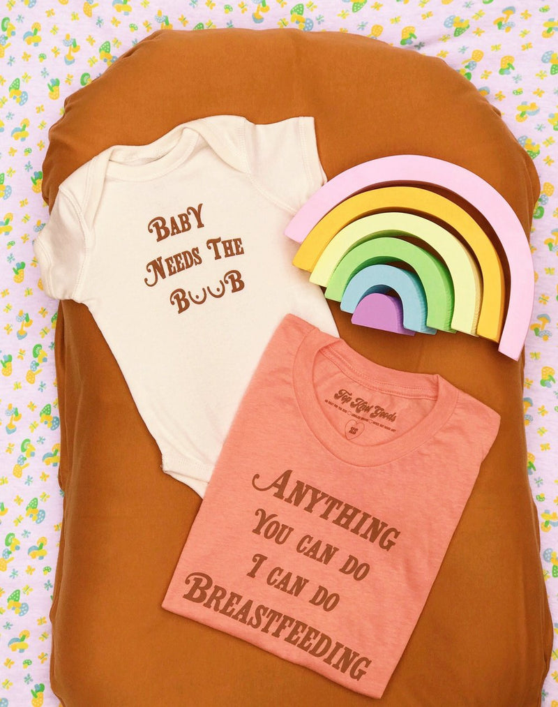 Two piece clothing set featuring a funny baby onesie and and an Adult t shirt