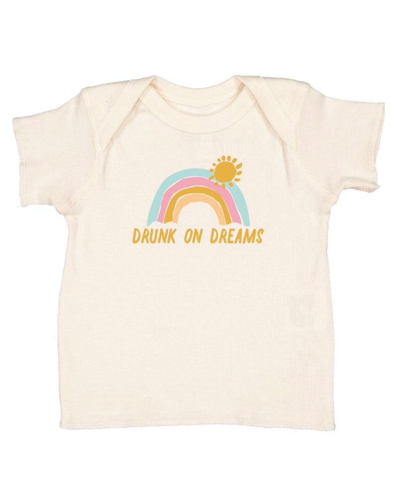 Kids natural cotton tee that says Drunk on Dreams with a rainbow and sun
