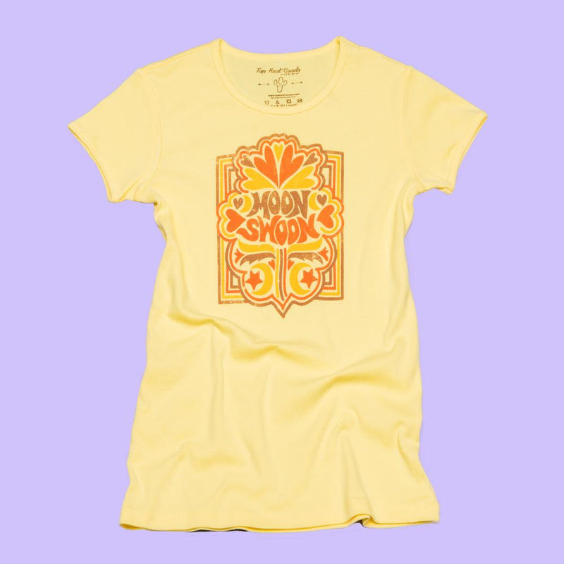 Yellow ribbed vintage inspired tee that says Moon Swoon on the front