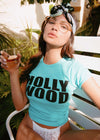 Girl wearing teal vintage inspired Hollywood t-shirt