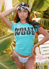 Female model wearing teal shirt that reads Hollywood