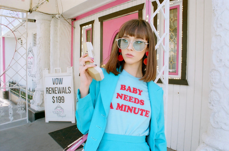 Vintage inspried baby blue t-shirt with red flock text