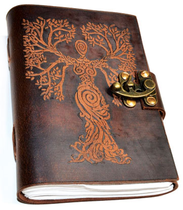 Tree Woman Leather Blank Book W- Latch