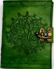 "5"" X 7"" Green Tree Of Life Leather W- Latch"