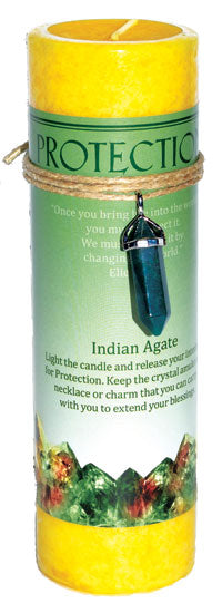 Protection Pillar Candle With Indian Agate Pendant