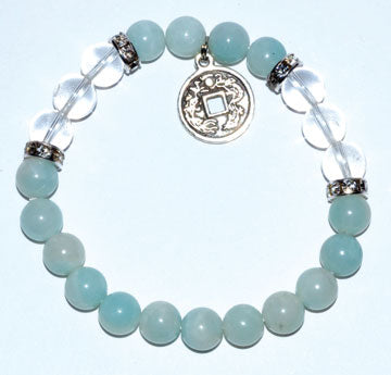 8mm Amazonite- Quartz With Chinese Coin
