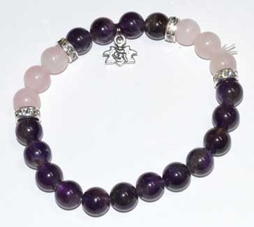 8mm Amethyst & Rose Qtz- Lotus