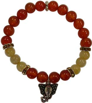 8mm Carnelian- Rutilated Quartz With Ganesha