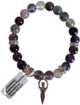 8mm Fluorite- Amethyst Stone With Goddess