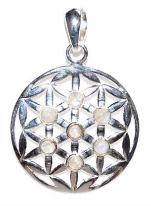 30mm Flower Of Life Rainbow Moonstone Pendant